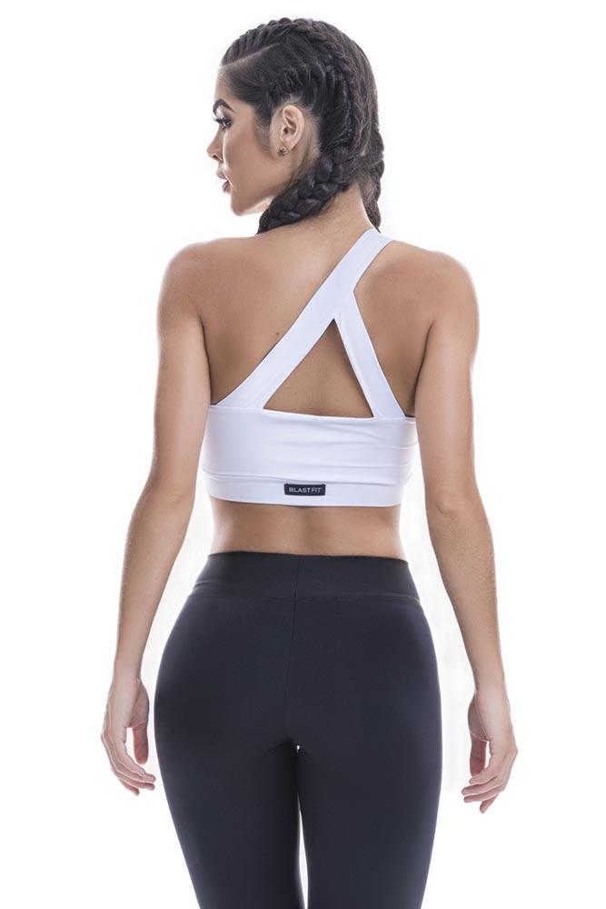 Top Fitness Um Ombro Só Branco costas