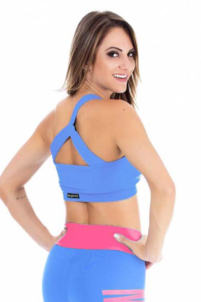 Top Fitness Um Ombro Só Blue costas
