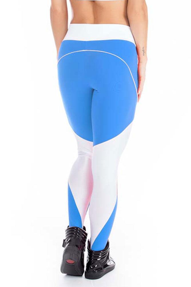Calça Legging Fitness Azul costas