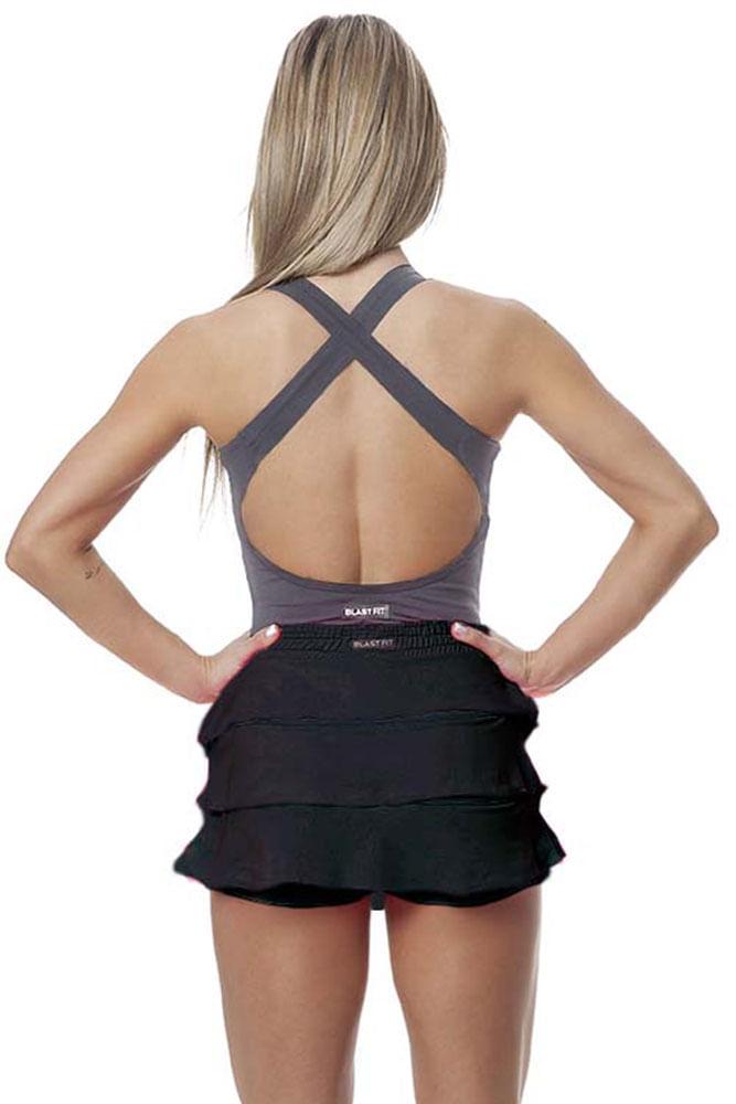 188821547 Saia Shorts Fitness Babado Preto frente Saia Shorts Fitness Babado Preto  costas