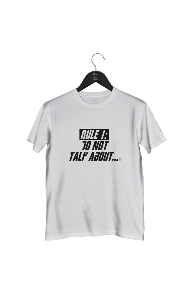 Camiseta-Rule-1-Do-Not-Talk-About-masculina-branca