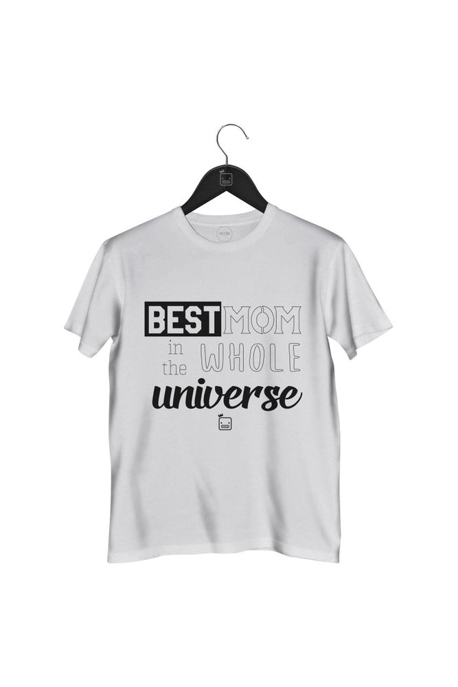 Camiseta-Best-Mom-In-The-Whole-Universe-masculina-branca