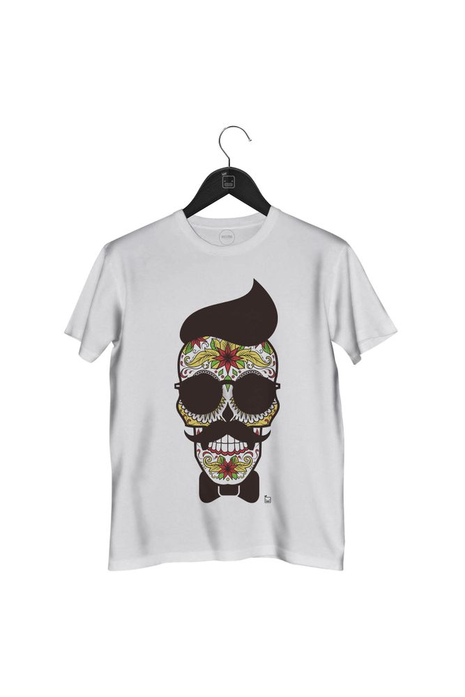 Camiseta-Caveira-Mexicana-masculina-branca