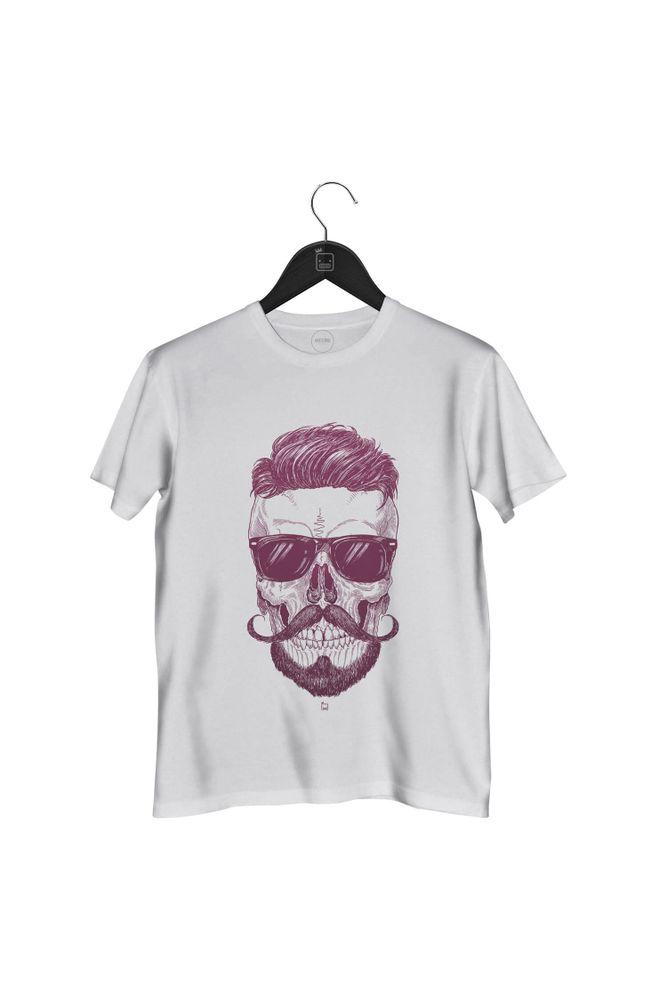 Camiseta-Caveira-Hipster-masculina-branca
