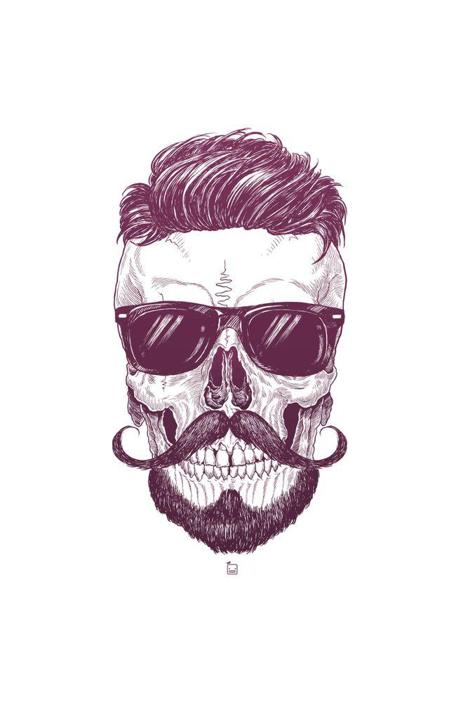 Camiseta-Caveira-Hipster-masculina-estampa