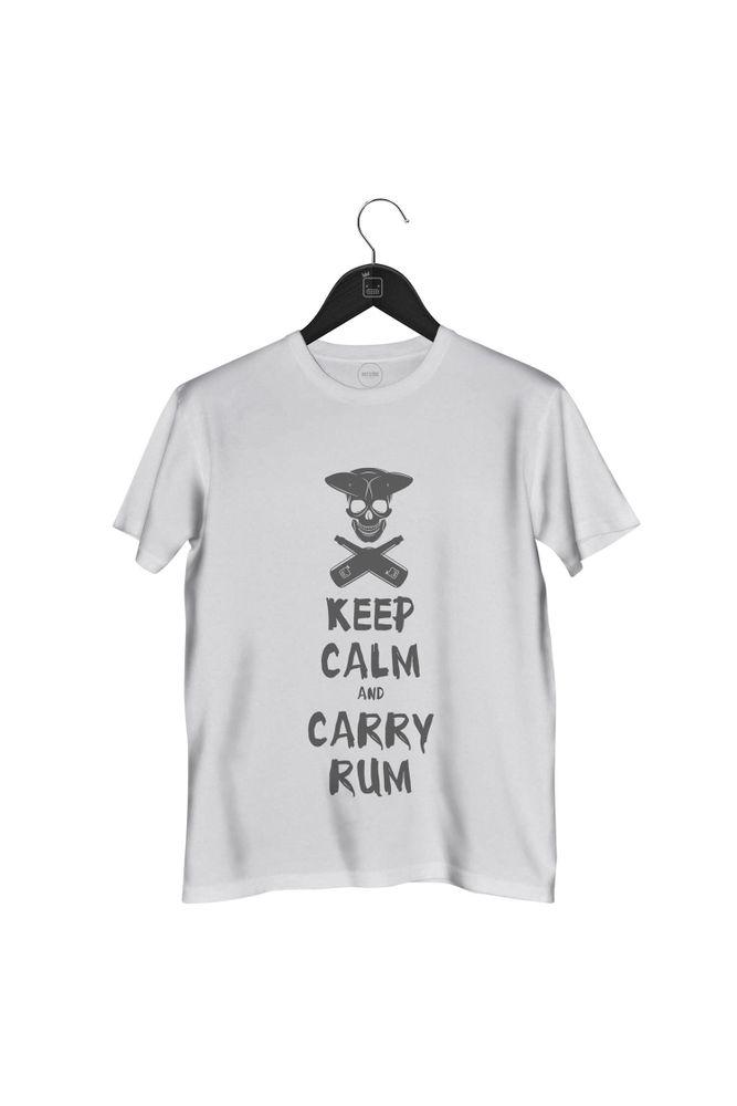 Camiseta-Keep-Calm-And-Carry-Rum-masculina-branca