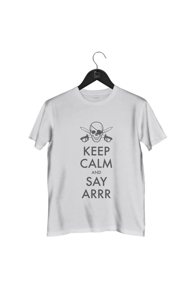 Camiseta-Keep-Calm-And-Say-Arrr-masculina-branca