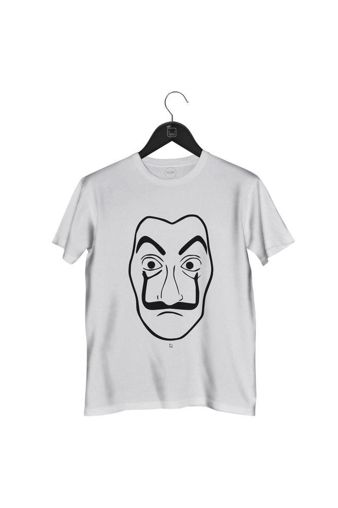 Camiseta-Mascara-Dali-masculina-branca