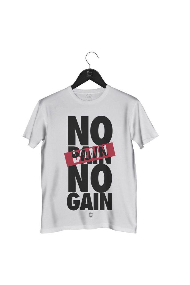 Camiseta-No-Brain-No-Gain-masculina-branca